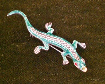 Vintage Silver & Enamel Lizard Brooch With Marcasites and Red Eyes 1940s, 1950s, Realistic!