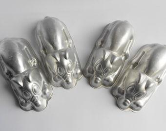 Vintage Art Deco Aluminium Dog Jelly Moulds x 4, 1940s - 1950s Small Jello Moulds, Like Disney