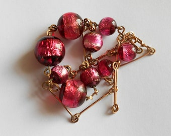 Pink Foiled Glass Bead Necklace, Art Deco Style, Probably Mid Century 1950s Czech