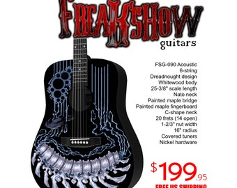 Graphic Acoustic Guitar BIOMECHANICAL Design by FreakshowGuitars - FREE SHIPPING