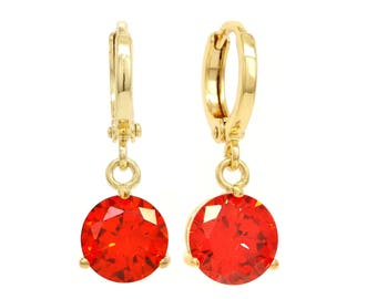 Red drop earrings, Real gold plated red earrings, Red, Round gem, Red earring, Genuine red gold drop, drop dangle, Fire red, Black gift box