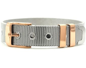 Stainless steel mesh belt bracelet rose gold plated buckle, adjustable in length, rose gold plated belt, black gift box purple jewelry bag