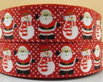 "Santa's Claus Grosgrain 1"" Printed Ribbon, Christmas Ribbon"