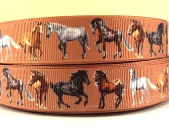 """Horses Grosgrain 7/8"""" Printed Ribbon, Running Horses Ribbon"""