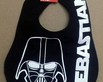 Personalized feeding baby bib in DARTH VADER and Star Wars