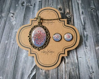 Jewelryset necklace with pendant and matching earrings-pink/lilac with real bloom-synthetic resin/resin