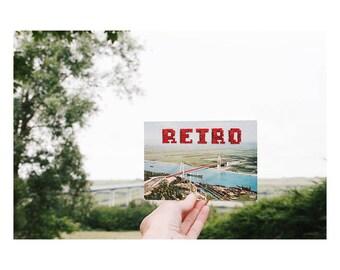 "Unique piece - map postcard vintage n.08 ""Rétro"" hand - embroidered cross - stitch June B. Kitsch - JBK"