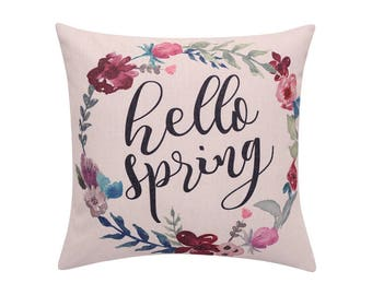 Watercolor flower throw pillow covers Spring wreath pillow cover Hello spring decorative pillow cases Quote cushion cover home decor 18x18
