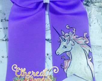 Unicorn hand painted hair bow hand painted cheer bow painted boutique bow dress up cosplay purple bow hair accessory girl accessory
