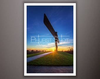 Landscape sunset photography print, Angel of the north golden hour image, north east photo shot, deep blue sky