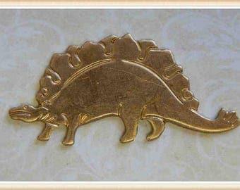 1 pc stegosaurus dinosaur brass stamping finding, embellishment #4368