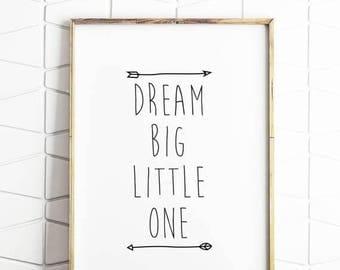 80% OFF dream big, little one, wall decor, wall art, modern art, trending poster, digital download, dream big little one, nursery decor art