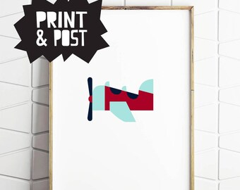 plane poster, plane print, retro plane, plane lover, boys nursery art, baby boy gift, plane illustraiton, plane wall art
