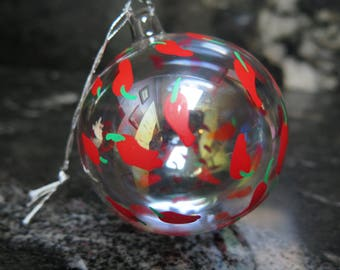 """RED CHILI PEPPER Hot Acrylic Ornament Holiday Kaye Round 3"""" Diameter"""