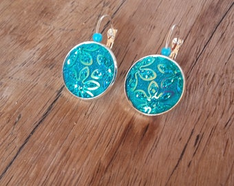 Iridescent blue cabochon earrings