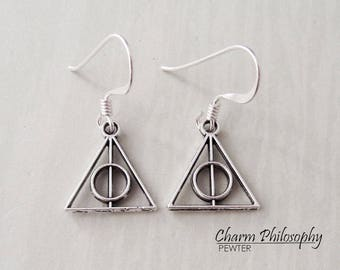 Deathly Hallows Earrings - Harry Potter Inspired - Antique Silver Jewelry