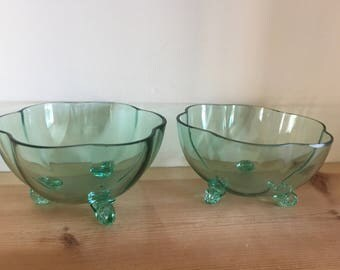 Pretty Vintage Pale Green Glass Three Footed Flower Shaped Bowls Bon Bon Bowls