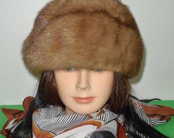 Elegant vintage medium brown mink fur hat - Sz Small  - Elegant chapeau de vison brun - Petit