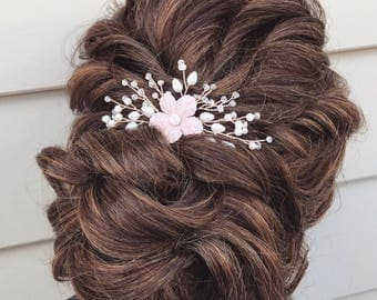 Wedding Hair Accessories, Flower Hair Pin, Rose Gold Hair Accessory, Bridal Hair accessory