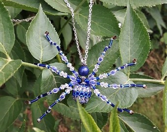 Blue spider necklace made of beads