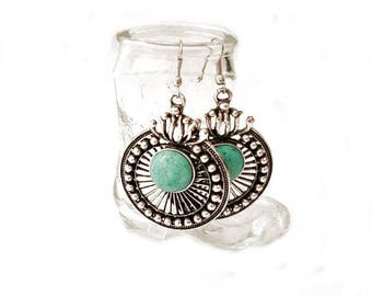 Antique Silver Tone Turquoise Earrings