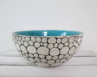 turquoise bowl, large ceramic bowl, turquoise bowl, ceramic bowl handmade pottery, modern ceramic bowl, decorative bowl, handmade ceramics