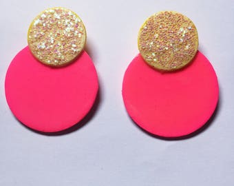 Glitter Pinkies. Hand Painted Wood Earrings