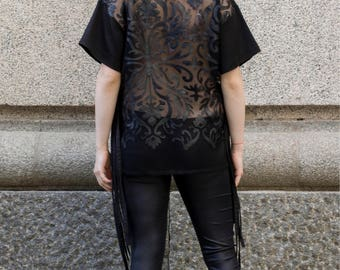 Oversize black t-shirt with laser cut lace back | Black tee with ties and see-through back by Silvia Monetti