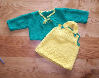 hand knitted green vest and yellow baby dress 6 months set