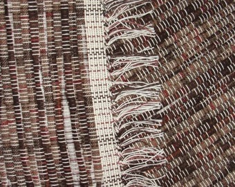 """Hand Woven Rug Brown Tan Cotton Blend fabric size 25""""x 51"""" Item# 145-S"""