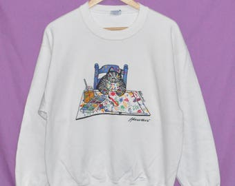 Vintage B KLIBAN Funny Cat Crazy Shirts Hawaii Sweatshirt Pullover White Colour Small Size