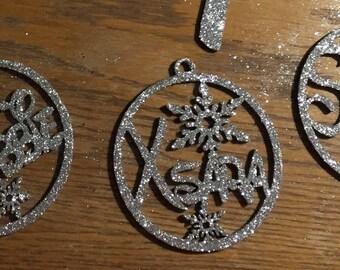 Persinalised name glittered christmas bauble