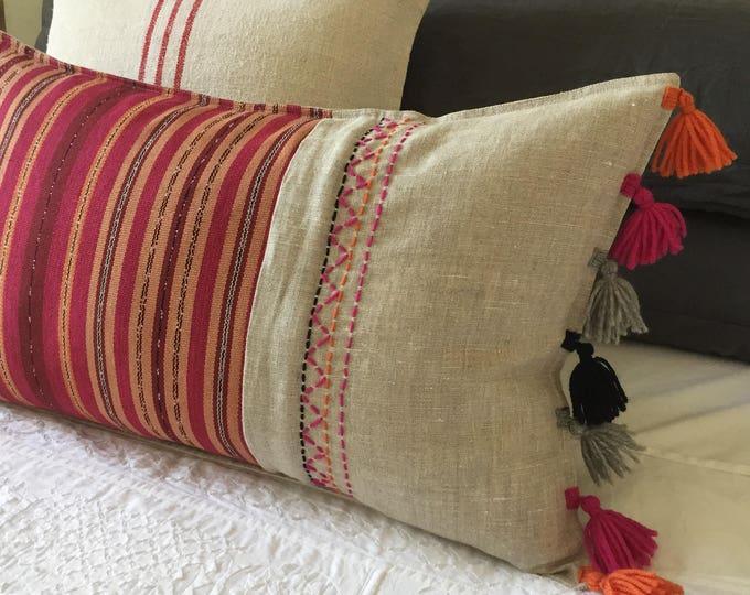 Fair Trade Artisan Red Stripe Textile + Natural Washed Eco-Linen + Australian Merino Wool Embroidery & Tassels Lumbar Cushion Cover