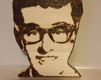 Buddy Holly pyrography picture
