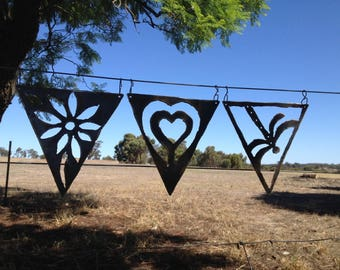 Set of any 3 Rusty Metal Bunting Flags
