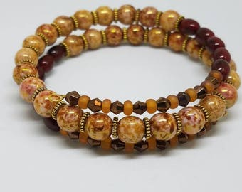 Brown and Gold Memory Wire Bracelet
