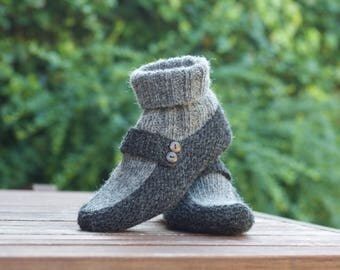 Knitted Wool Slippers Socks Boots Grey Warm Home slippers Wool socks Shetland wool Personalised gift Mothers day