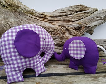 Plush elephants, Stuffed Elephant Toy, Purple and White Elephant Nursery, Purple Nursery Decor, Baby Girl Nursery, Mommy and Baby Elephant