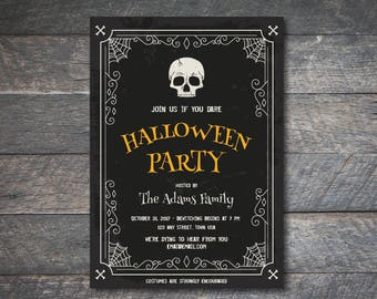 PERSONALIZED 5x7 Sophisticated Halloween Party Invitation - DIY Printable