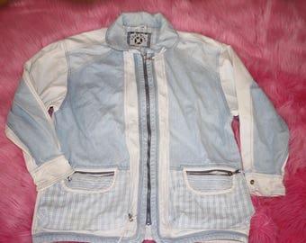 Vintage 80s 90s EAST WEST Denim Jacket size M Patch Colorblock Retro Light