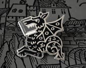 Bookish enamel pin - Black Book Wyrm - gifts for book lovers - literary gifts - lapel pin - literary jewelry - book pin