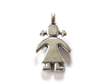 Girl Pendants, Girl with Pigtails Pendants in Silver Tone Metal, Girl with Pigtails, Girl Pendant, Child Pendant - Pack of Four - H702