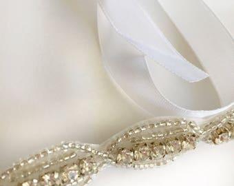 Wedding Rhinestone Headband, Beaded Headband, Bridal Headband, Crystal Headband, Ribbon and Rhinestone Head Piece, Wedding Hair Piece, Bride
