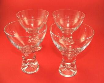 """Mid Century set of four vintage  champagne glasses """"Tapio 2101"""" Iittala glass works Tapio Wirkkala Finland"""