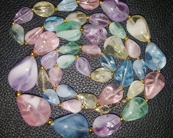 1980s necklace•vintage necklace•pastel necklace•multicoloured necklace•bead necklace