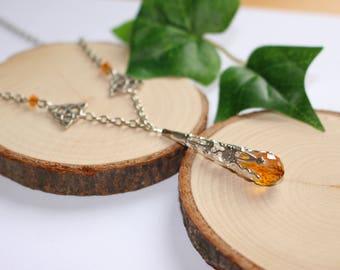Orange necklace drop swarovski