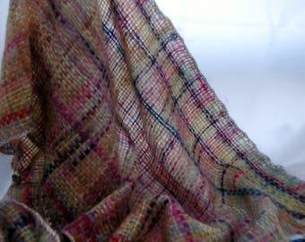 Butterfly shawl. Red/brown wrap. Mohair/nylon shawl.  Wedding wrap. Mohair scarf. Evening shawl.