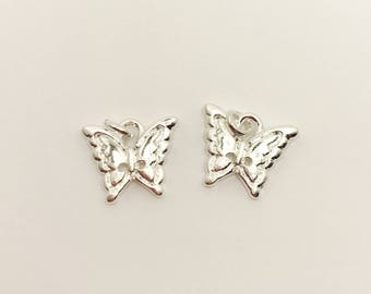 Butterfly Charm Bead Silver Plated Charm Butterfly Lovers Charm Make Your Own Jewellery Making LynnsGemSupplies