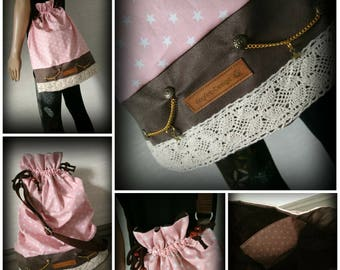 Bag, bag, vintage, star, leather, rivet, shoulder bag, Boho, beads, pink, brown