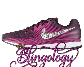 Womens Nike Air Zoom Pegasus 34 Port Wine, Black, Berry, Pink Custom Bling